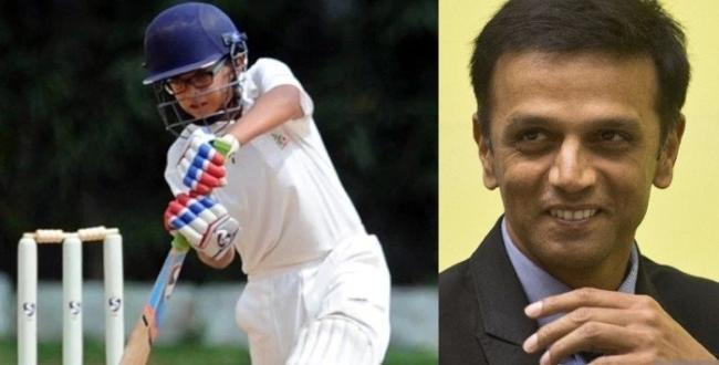 Rahul-dravid-son-hitting-double-century
